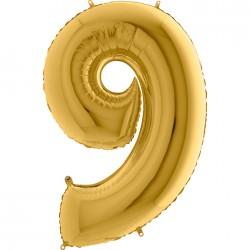 9 Rakam Altın Folyo Balon 40 cm