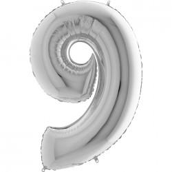 9 Rakam Gümüş Folyo Balon 40 cm