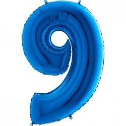 9 Rakam Mavi Folyo Balon 80 cm