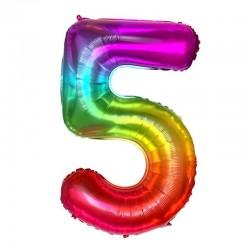 5 Rakam Gökkuşağı Folyo Balon 80 cm