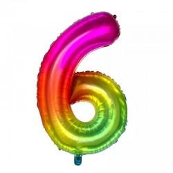 6 Rakam Gökkuşağı Folyo Balon 80 cm