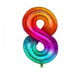8 Rakam Gökkuşağı Folyo Balon 80 cm