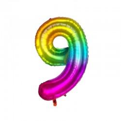 9 Rakam Gökkuşağı Folyo Balon 80 cm