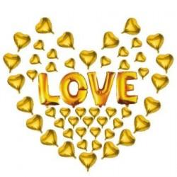 Love Gold Kalpli Folyo Balon Seti 50'li