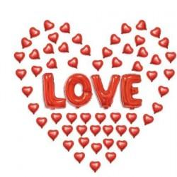 Love Kırmzı Kalpli Folyo Balon Seti 50'li