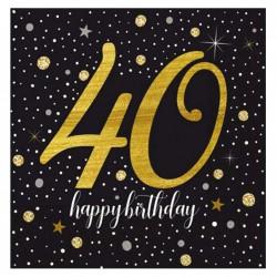 Işıltılı Doğum Günü 40 Yaş Kağıt Peçete 33x33 cm 20'li