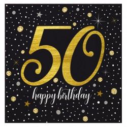 Işıltılı Doğum Günü 50 Yaş Kağıt Peçete 33x33 cm 20'li