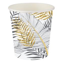 Altın Simli Yapraklar Beyaz Karton Bardak 8'li