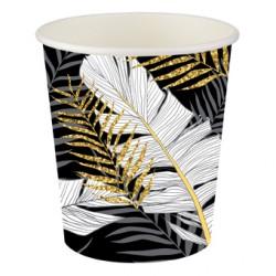 Altın Simli Yapraklar Siyah Karton Bardak 8'li