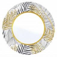 Altın Simli Yapraklar Beyaz Karton Tabak 23 cm 8'li
