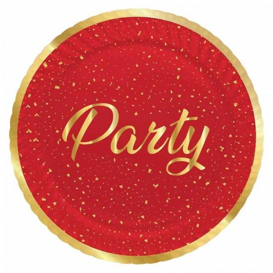 Parti Zamanı Kırmızı Karton Tabak 23 cm 8'li