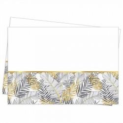 Altın Simli Yapraklar Beyaz Plastik Masa Örtüsü 120x180 cm