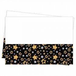Yıldızlar Siyah Plastik Masa Örtüsü 120x180 cm