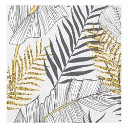 Altın Simli Yapraklar Beyaz Kağıt Peçete 33x33 cm 20'li