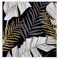 Altın Simli Yapraklar Siyah Kağıt Peçete 33x33 cm 20'li