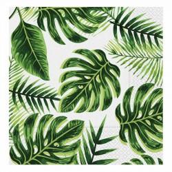 Altın Simli Yapraklar Yeşil Kağıt Peçete 33x33 cm 20'li