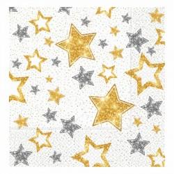 Yıldızlar Beyaz Kağıt Peçete 33x33 cm 20'li
