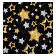 Yıldızlar Siyah Kağıt Peçete 33x33 cm 20'li
