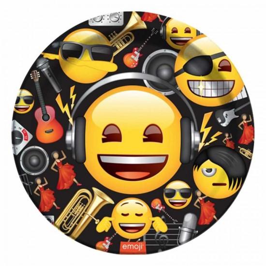 Genç Emoji Karton Tabak 23 cm 8'li