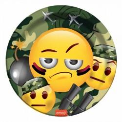 Kamuflaj Emoji Karton Tabak 23 cm 8'li