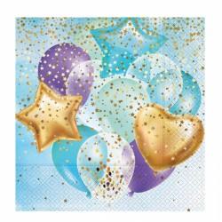 Uçan Balonlar Mavi Kağıt Peçete 33x33 cm 20'li
