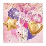 Uçan Balonlar Pembe Kağıt Peçete 33x33 cm 20'li