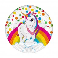 Unicorn Rainbow Karton Tabak 23 cm 8'li