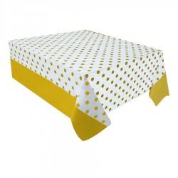 Altın Puantiyeli Plastik Masa Örtüsü 137x182 cm