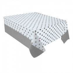 Gümüş Puantiyeli Plastik Masa Örtüsü 137x182 cm