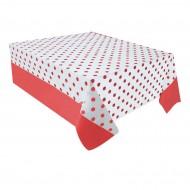 Kırmızı Puantiyeli Plastik Masa Örtüsü 137x182 cm