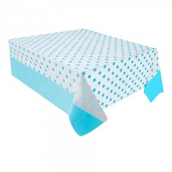 Mavi Puantiyeli Plastik Masa Örtüsü 137x182 cm