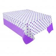 Mor Puantiyeli Plastik Masa Örtüsü 137x182 cm