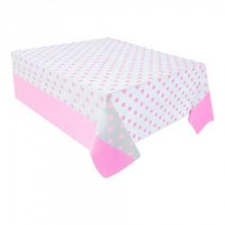 Pembe Puantiyeli Plastik Masa Örtüsü 137x182 cm