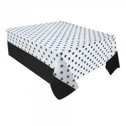 Siyah Puantiyeli Plastik Masa Örtüsü 137x182 cm