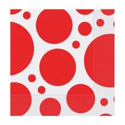 Kırmızı Karışık Puantiyeli Kağıt Peçete 33x33 cm 20'li