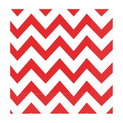 Kırmızı Zigzag Kağıt Peçete 33x33 cm 20'li