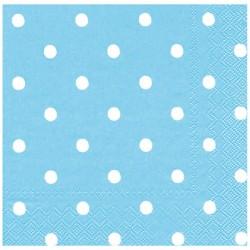 Açık Mavi Puantiyeli Peçete  33x33 cm 20'li