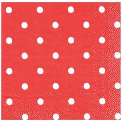 Kırmızı Puantiyeli Kağıt Peçete 33x33 cm 20'li