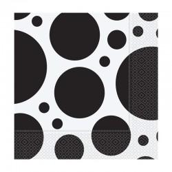 Siyah Karışık Puantiyeli Kağıt Peçete 33x33 cm 20'li