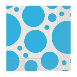 Açık Mavi Karışık Puantiyeli Kağıt Peçete 33x33 cm 20'li
