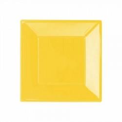 Sarı Plastik Kare Tabak 17 cm 8'li