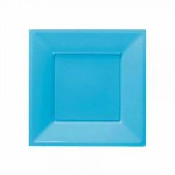 Açık Mavi Plastik Kare Tabak 17 cm 8'li