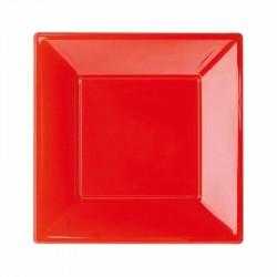 Kırmızı Plastik Kare Tabak 17 cm 8'li