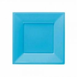 Açık Mavi Plastik Kare Tabak 23 cm 8'li