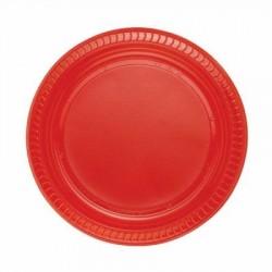 Kırmızı Plastik Tabak 22 cm 10'lu