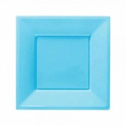 Mavi Plastik Kare Tabak 17 cm 8'li