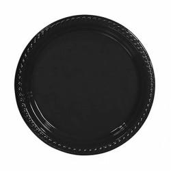 Siyah Plastik Tabak 22 cm 10'lu