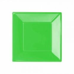 Yeşil Plastik Kare Tabak 17 cm 8'li