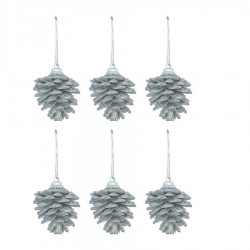 Yılbaşı Çam Ağacı Süsü Kozalak Gümüş 4 cm 6'lı