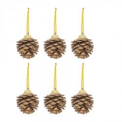 Yılbaşı Çam Ağacı Süsü Kozalak Altın 4 cm 6'lı